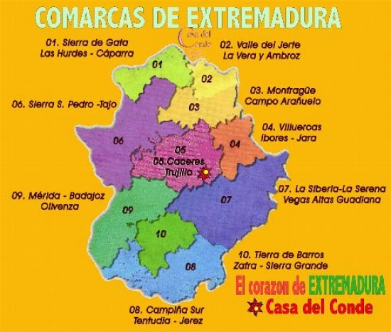 Mapa De Extremadura Comarcas.El Pct Guadiana Internacional Edita Un Mapa Turistico De