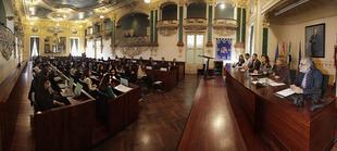 Alumnos del I.E.S. Rodr�guez Mo�ino simulan una asamblea parlamentaria en la Diputaci�n de Badajoz