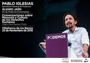 Pablo Iglesias participa este mi�rcoles en Villafranca de los Barros en un acto p�blico sobre memoria hist�rica