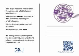 El PP distribuye postales en la provincia de Badajoz en las que anima a ''no dividir el voto moderado''
