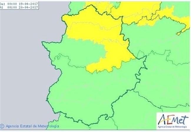Varias comarcas de la provincia de Cáceres, en aviso amarillo este miércoles por tormentas