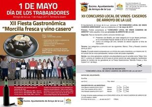 La XII Fiesta Gastronómica de Arroyo de la Luz (Cáceres) promocionará productos como la morcilla fresca y el vino casero