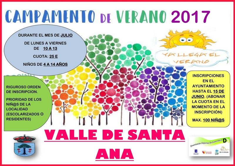 El plazo de inscripción para el ''Campamento de Verano 2017'' de Valle de Santa Ana finaliza el próximo jueves