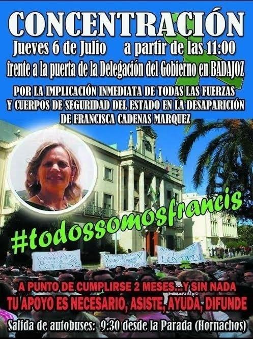 Familiares y vecinos de Francisca Cadenas reclamarán el jueves ante la Delegación del Gobierno la intervención de la UCO