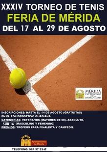El torneo de tenis de la Feria de Mérida se disputará del 17 al 29 de agosto