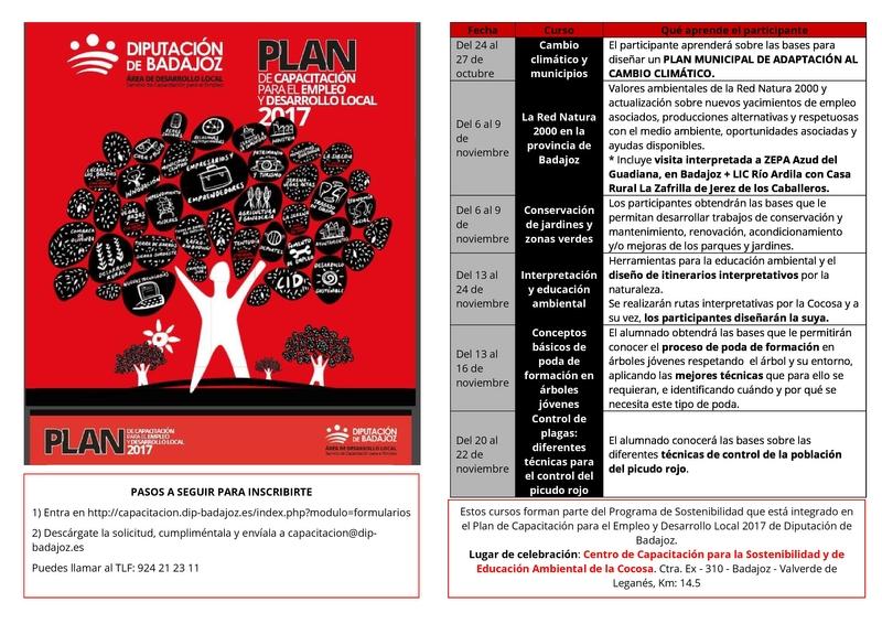 La Diputación de Badajoz continúa con su Plan de Capacitación para el Empleo y Desarrollo Local 2017