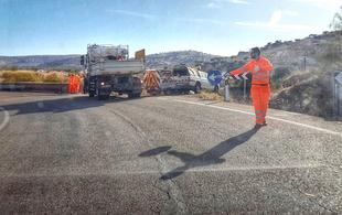 Corte de tráfico en la Carretera Provincial BA-081, Jerez de los Caballeros a Higuera de Vargas