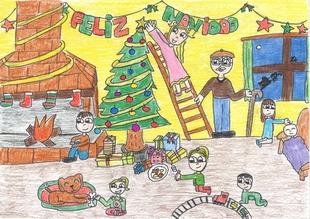 Escolares de Los Santos de Maimona participan en un concurso de postales navideñas