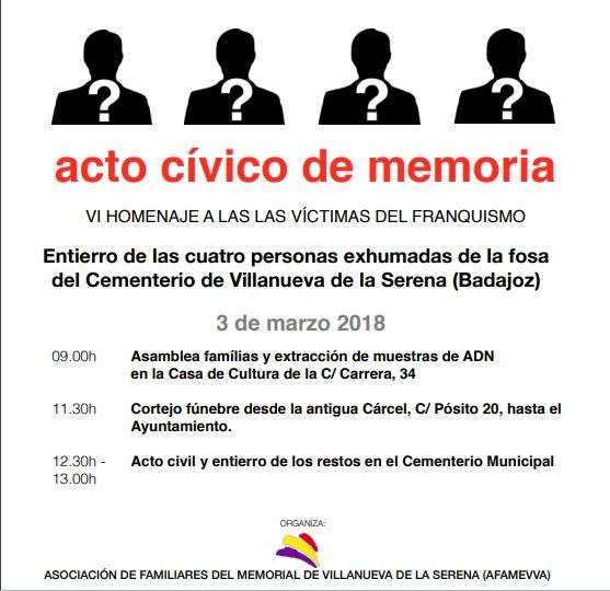 Los restos de cuatro víctimas del franquismo exhumados en 2016 serán enterrados en marzo en Villanueva de la Serena
