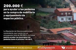 Dos cientos mil euros para ayudar a las pedanías en la compra de mobiliario y equipamiento de espacios públicos