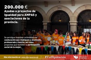 La Diputación publica sus ayudas a proyectos de Igualdad para AMPAS y asociaciones de la provincia