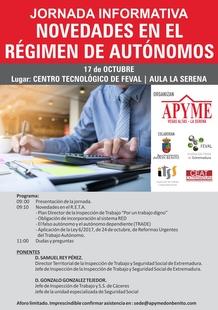 APYME  Vegas Altas - La Serena organiza en FEVAL unas jornada sobre las novedades en el Régimen de Autónomos