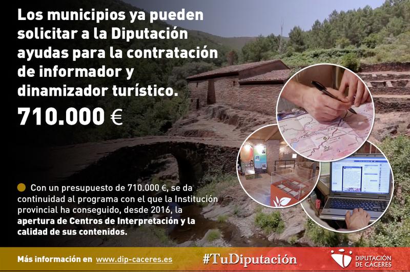 Los municipios ya pueden solicitar a la Diputación ayudas para la contratación de informador y dinamizador turístico
