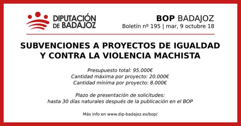 El BOP publica la convocatoria de subvenciones de la Diputación para proyectos de la igualdad y contra la violencia de género