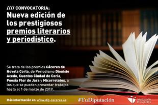 La Diputación convoca una nueva edición de sus prestigiosos premios literarios y periodístico