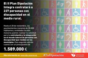 El II Plan Diputación Integra contratará a 227 personas con discapacidad en el medio rural
