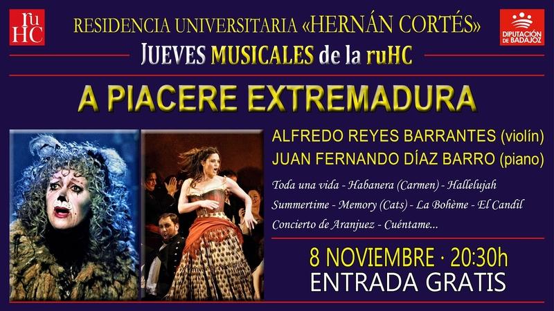 Concierto de piano y violín en los ''Jueves musicales'' de la la R.U. Hernán Cortés