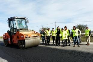 Primera prueba con árido siderúrgico en Extremadura del Grupo Gallardo Balboa en un tramo de la N-435 Badajoz-Huelva