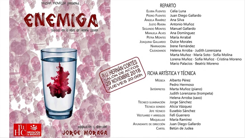 Teatro en la R.U. Hernán Cortés con la obra ''Enemiga''