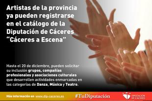 Artistas de la provincia ya pueden registrarse en el catálogo de la Diputación de Cáceres denominado ''Cáceres a Escena''