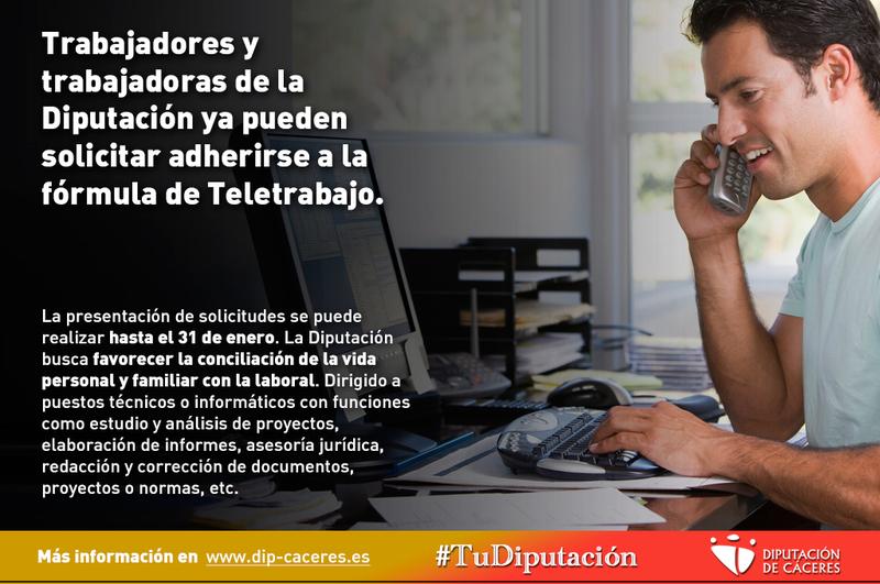 Trabajadores y trabajadoras de la Diputación ya pueden solicitar adherirse a la fórmula de Teletrabajo