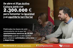 Se abre el Plan Activa Cultura 2019 con 2.300.000 euros para fomentar la igualdad y el equilibrio territorial
