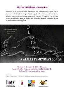 Teatro en la R.U. Hernán Cortés con ''27 almas femeninas con Lorca'' por Oliexcénicas