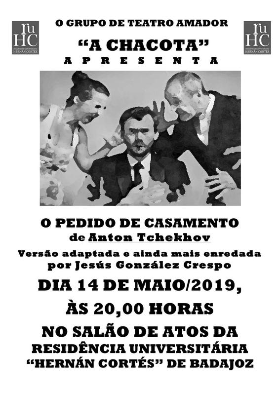 Teatro en la R.U. Hernán Cortés con la obra en portugués