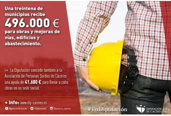 Una treintena de municipios de la provincia recibe 496.000 euros para obras y mejoras de vías, edificios y abastecimiento