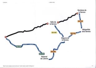 Ampliación del plazo de corte de tráfico en la Carretera Provincial BA-113, de Quintana de la Serena a EX-210 por Valle de la Serena