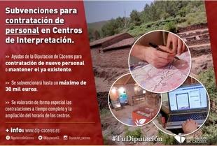 Diputación convoca subvenciones para la contratación de personal en Centros de Interpretación de la provincia de Cáceres