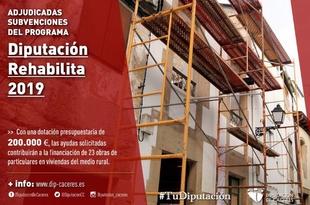 Adjudicadas las subvenciones del programa Diputación Rehabilita 2019
