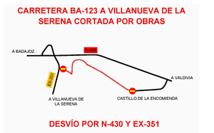 Ampliación del plazo de corte de la Carretera Provincial BA-123, de Villanueva de la Serena (EX-351) a la N-430