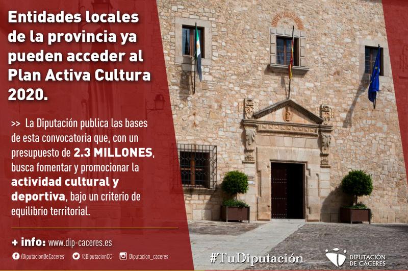 Las entidades locales de la provincia, con menos de 20.000 habitantes, ya pueden acceder al Plan Activa Cultura 2020