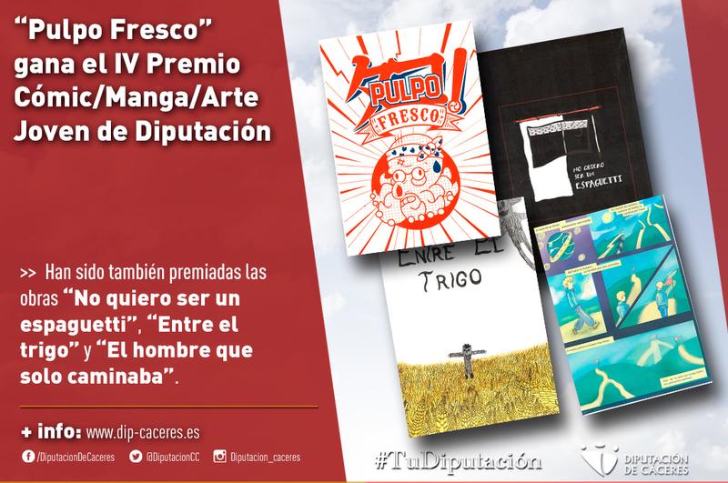"El chinato Pablo Iglesias con la obra ""Pulpo Fresco"", galardonado en el IV Premio Cómic/Manga/Arte Joven de la Diputación"