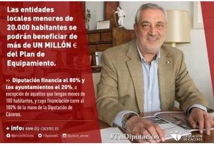 Las entidades locales menores de 20.000 habitantes se podrán beneficiar de más de un millón de euros del Plan de Equipamiento