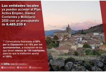 Las entidades locales ya pueden acceder al Plan Activa Empleo, Gastos Corrientes y Mobiliario con 8.485.235€