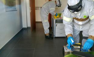 Los Bomberos del CPEI inician labores de desinfección ante la actual emergencia sanitaria del COVID-19