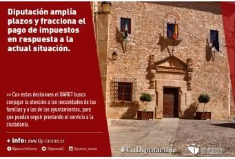 La Diputación de Cáceres amplía plazos y fracciona el pago de impuestos en respuesta a la situación excepcional que se vive
