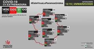 Mapa de incidencia del COVID-19 en Extremadura a 29 de marzo de 2020