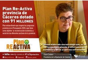 La Diputación presenta el Plan Re-Activa provincia de Cáceres dotado con 91 millones de euros