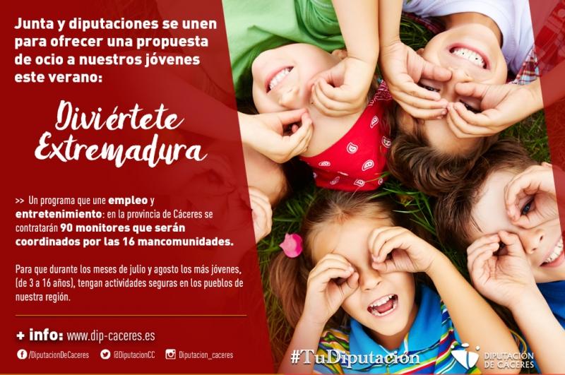 Junta y diputaciones se unen para ofrecer una propuesta de ocio a nuestros jóvenes llamada 'Diviértete Extremadura'