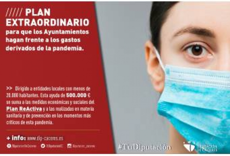 Diputación publica el Plan Extraordinario de Gastos derivados de la pandemia para municipios menores de 20.000 habitantes
