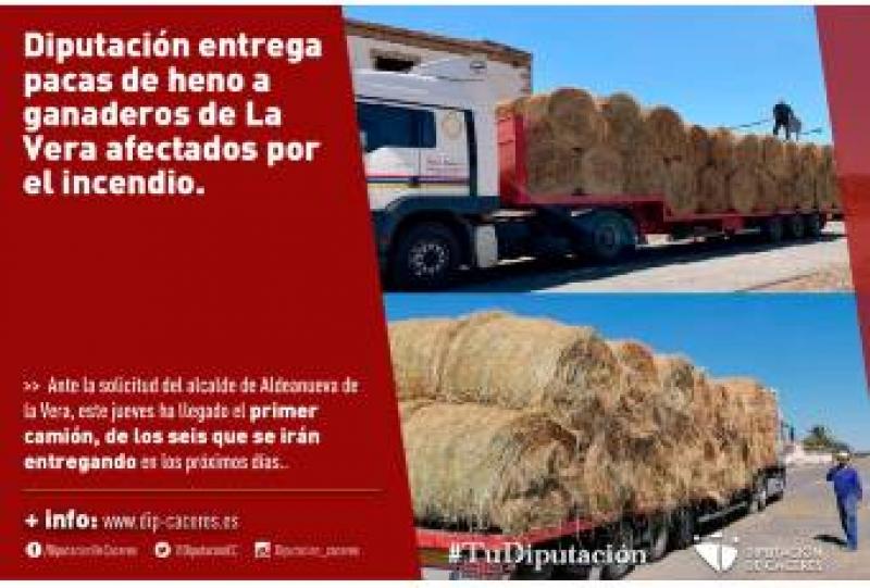 La Diputación entrega pacas de heno a ganaderos afectados por el incendio de La Vera