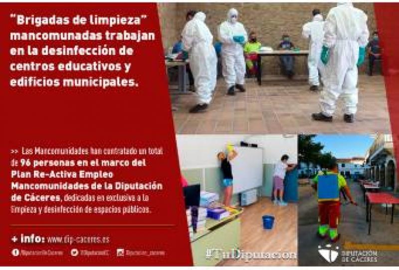 ''Brigadas de limpieza'' mancomunadas trabajan en la desinfección de centros educativos y edificios municipales
