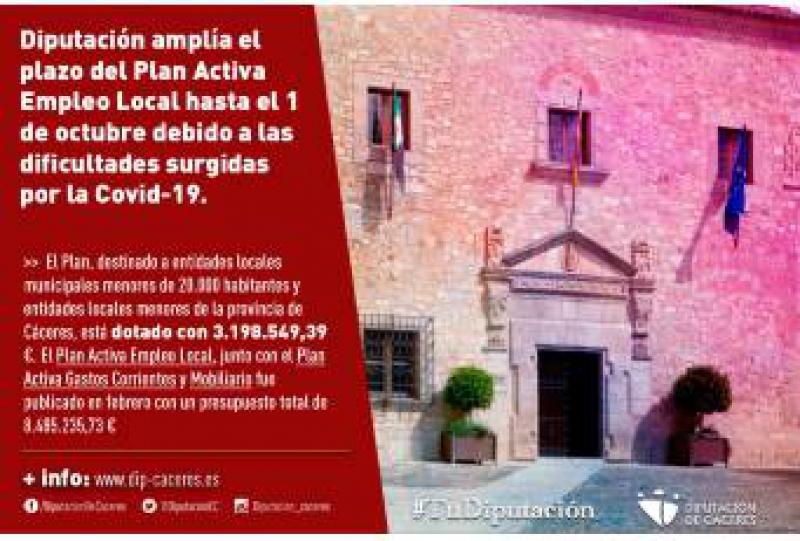 Diputación amplía el plazo del Plan Activa Empleo Local hasta el 1 de octubre