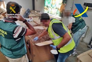 Incautadas 53 toneladas de hojas de tabaco ocultas en una nave para su posterior venta ilegal