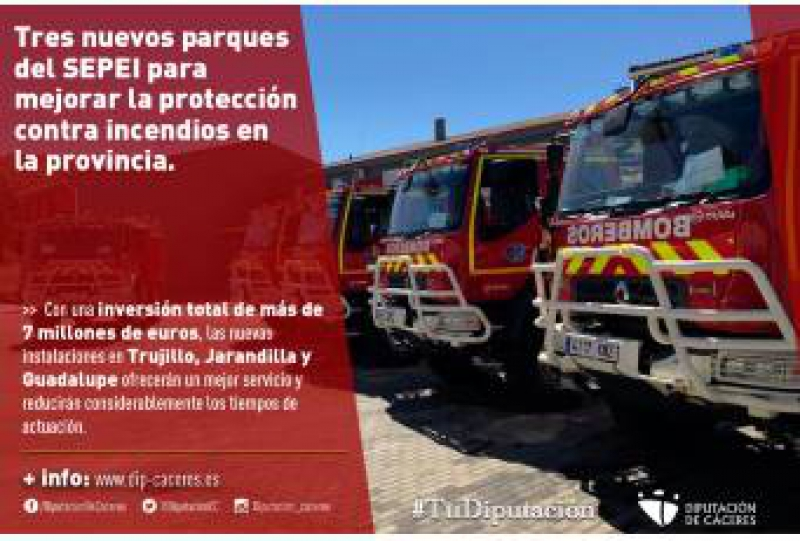 Tres nuevos parques del SEPEI para mejorar la protección contra incendios en la provincia