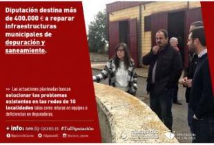 Diputación destina más de 400.000 euros a reparar infraestructuras municipales de depuración y saneamiento
