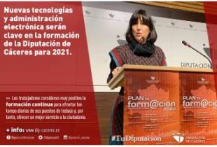 Nuevas tecnologías y administración electrónica serán clave en la formación de la Diputación de Cáceres para 2021